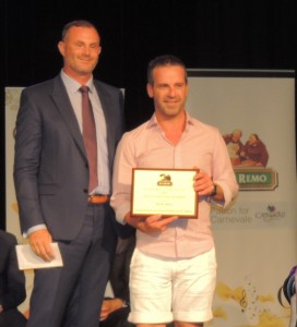 Nick May Durum Grower of Year receiving award from Adam Jackson San Remo