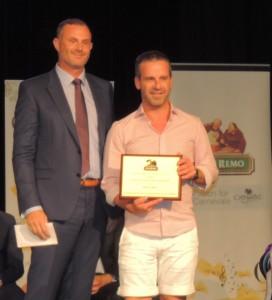 Nick May Durum Grower of Year receiving award from Adam Jackson San Remo