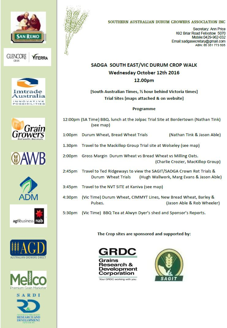 2016 Durum Growers South East Crop Walk