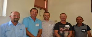 Alan Hartwell (ANZ Riverton), Michael Jaeschke (Blyth), Matt Casey (NAB Clare), David Parkinson (Saddleworth) and Wayne Molineux (Tarlee) at SADGA Pre-Seeding Forum at Tarlee